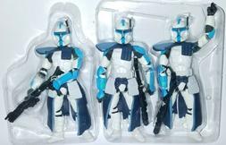 """Star Wars 3x CLONE TROOPER 3.75"""" Figure Blue 501st Legion AR"""