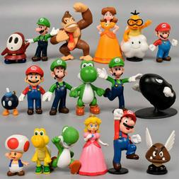 Super Mario Bros Lot 18pcs Action Figure Doll Playset Figuri
