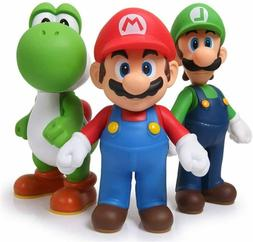 "Super Mario Bros Luigi & Yoshi & Mario 5"" Action Figures Bir"