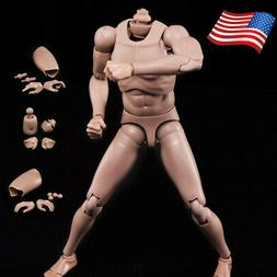 "US 1/6 Scale 12""Male Man Neck Body Art Model Europe Skin Act"