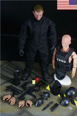 US 1/6 SWAT Black Uniform Soldier Military Army Suit Action