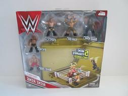 WWE Mighty Minis Portable Ring W/ 5 Mini Figures Gold Briefc